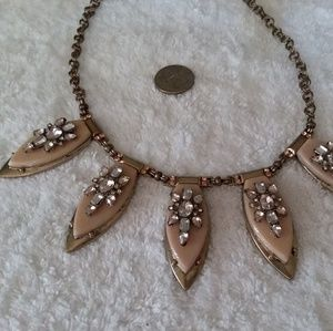 Statement Necklace Signed NY Tag with Rhinestones